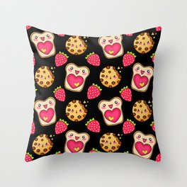 Cute funny sweet adorable happy Kawaii toast with raspberry jam and butter, chocolate chip cookies and red ripe summer strawberries cartoon fantasy black pattern design Throw Pillow