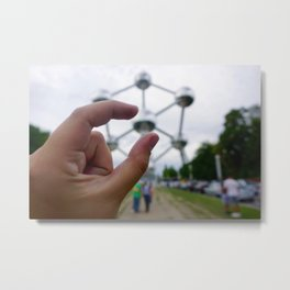 Pinch Me, Im the Atomium Metal Print