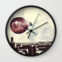 skyline Wall Clocks featuring Skyline by maybesparrowphotography