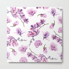 Orchid Flowers Pink and Purple Metal Print