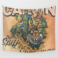 calvin Wall Tapestries featuring Calvin: The Spiffy Spaceman by Captain_RibMan
