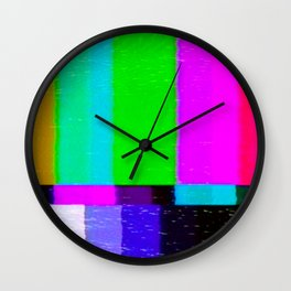 A distorted tv transmission or VHS tape, a badly eaten noisy signal of SMPTE color bars (a television screen test pattern). Vintage photo. Retro background. Wall Clock
