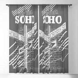SoHo, New York Streets- white on black Sheer Curtain