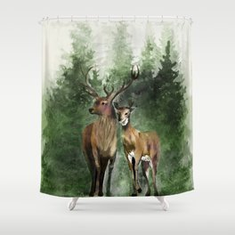 Deers in the Forest Shower Curtain