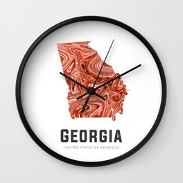 Georgia - State Map Art - Abstract Map - Brown Wall Clock