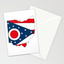 Map of Ohio with State Flag Stationery Cards