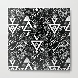 Abstract black and white pattern Metal Print