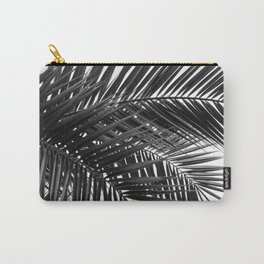 Tropical Palm Leaves - Black and White Nature Photography Carry-All Pouch