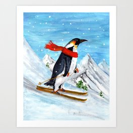 Penguin Alpine Skiing Art Print