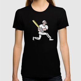 Cricket Player Batsman Batting Kneel Cartoon T-shirt