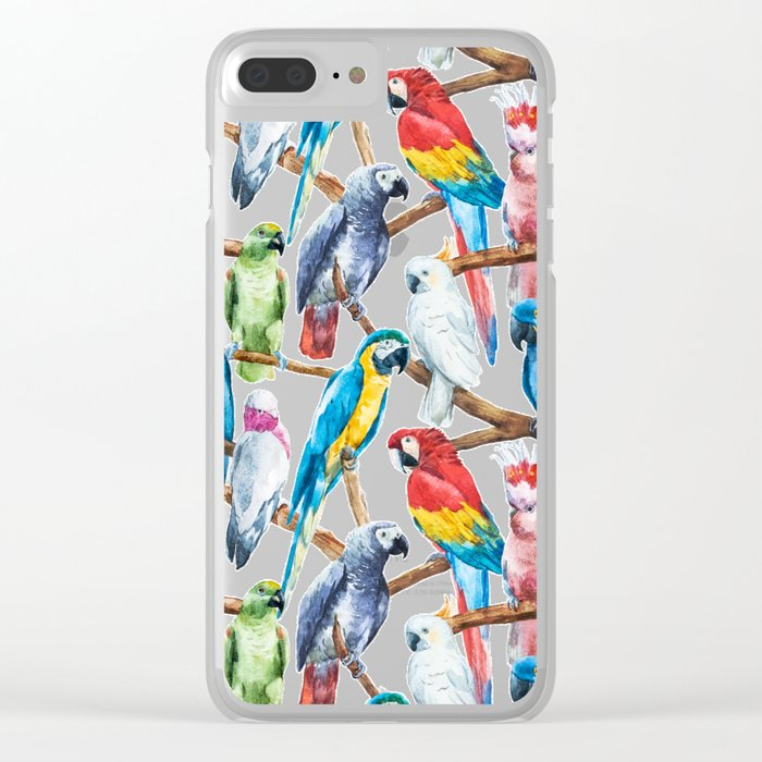 Parrot Pattern 02 Clear iPhone Case