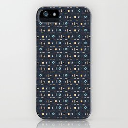 Geometric Doodle Shapes Navy Blue Vector Pattern iPhone Case
