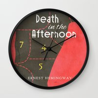 hemingway Wall Clocks featuring Death in the Afternoon, Erenst Hemingway - Book Cover by Stefanoreves