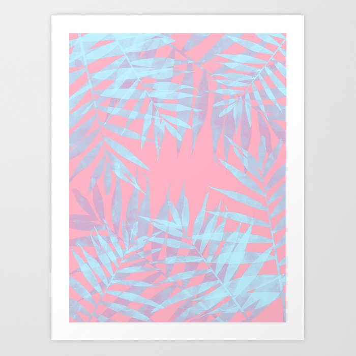 Pink and Blue Tropicana Art Print by cafelab
