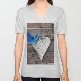 Heart & butterfly   coeur et papillon Unisex V-Neck