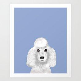 Toy Poodle white poodle pet portrait custom dog art dog breeds by pet friendly Art Print