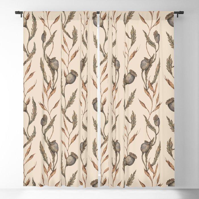 Poppy Pod Pattern Blackout Curtain
