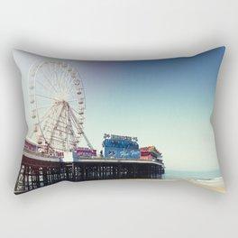 Ferris wheel on Blackpool Pier, hot summer morning. Rectangular Pillow
