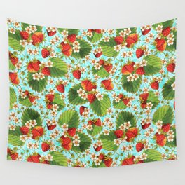 Botanical Strawberries Wall Tapestry