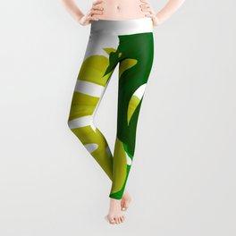 Green Monstera Leaves White Background #decor #society6 #buyart Leggings