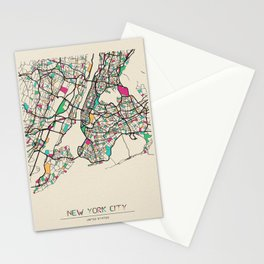 Colorful City Maps: New York City, USA Stationery Cards