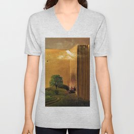 Surrealism Dream world with Book and Chair Unisex V-Neck