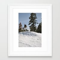 snowboarding Framed Art Prints featuring Snowboarding by Monica Cadena