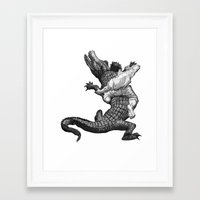 wrestling Framed Art Prints featuring Crocodile wrestling! by Noughton