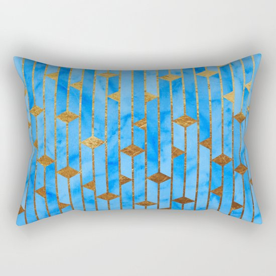 Blue Marble Skyscrapers Rectangular Pillow