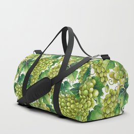 Watercolor bunches of white grapes hanging on the branch Duffle Bag