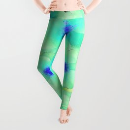 Celadon Jade Green-Blue Color Flower Pattern Leggings