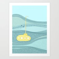 yellow submarine Art Prints featuring Yellow Submarine by Anita Ivancenko
