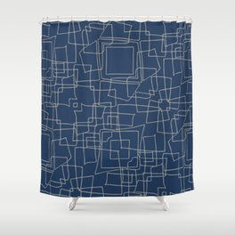 Decorative blue and grey abstract squares Shower Curtain