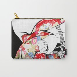 Woman wears a traditional kimono, Body tied by rope, Shibari, Japanese BDSM art, Fashion illusration Carry-All Pouch