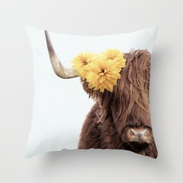 Highland Cow Wearing Flowers on Teal Throw Pillow