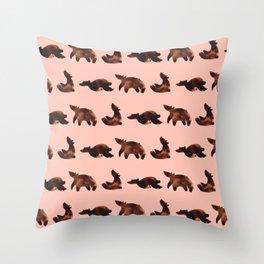 Sleepy Bear in Pink Throw Pillow