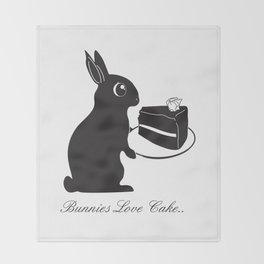 Bunnies Love Cake, Bunny Illustration, cake lovers, animal lover gift Throw Blanket