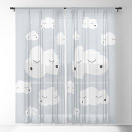 clouds and dots Sheer Curtain