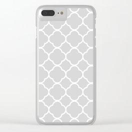 Gray & White Quatrefoil Clear iPhone Case