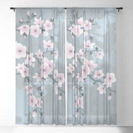 Dusky Pink Grayish Blue Cherry Blossom Sheer Curtain