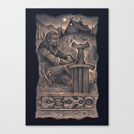 Beowulf Awaits the Fiend Canvas Print