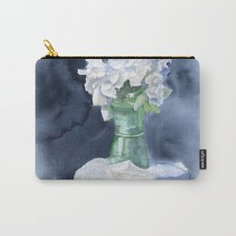 White Peonies Watercolor Carry-All Pouch