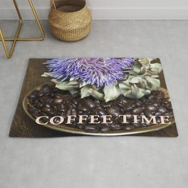 Coffee Beans and Blue Flower of Artichoke Rug
