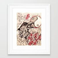 ying yang Framed Art Prints featuring Ying Yang  by Emalee Røse