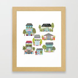 Houses and Boutiques Framed Art Print