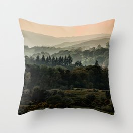 Foggy morning in Lake District Throw Pillow