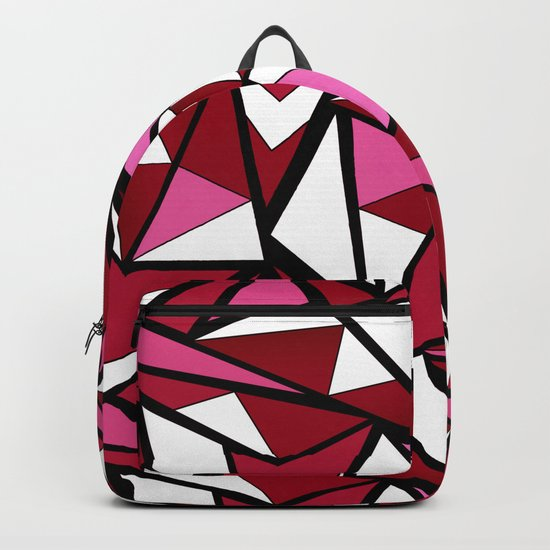 Abstract geometric triangles pattern . 6 Backpack
