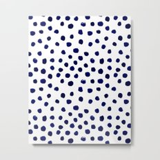 Mini dots painterly brushstrokes boho modern indigo blue and white preppy nautical dorm college art Metal Print