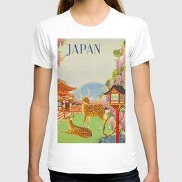 Vintage Mid Century Modern Japan Travel Poster Deer Red Pagoda Wisteria Garden T-Shirt