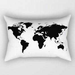 Black World Map Rectangular Pillow